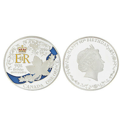 Silver Color Queen's 90th Birthday Commemorative Coin Collectible Cool Gift
