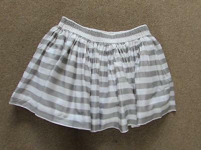 MARKS & SPENCER ANGEL Girls Grey & White Striped Lined Skirt Size Small S BNWT