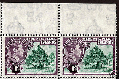 """KGVI: Gilbert & Ellice Island Missing """"A"""" from Watermark - 1d Block (12) S/G44."""