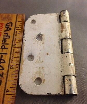 Antique large white heavy metal hinges with pins (no screws)