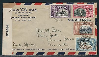 1944 Trindad KGVI WWII Censored Air Mail Cover - Port-of-Spain to South Africa