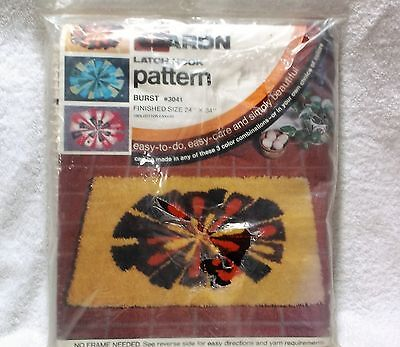 CARON LATCH HOOK PATTERN BURST #3041 CANVAS - NO YARN included - NOS
