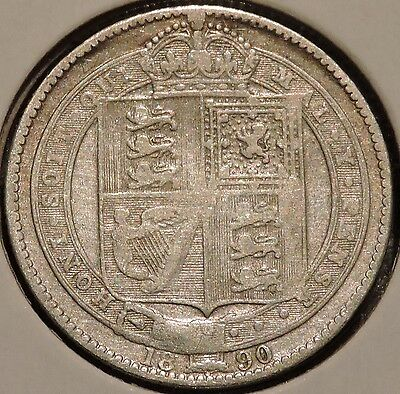 British Silver Shilling - 1890 - Queen Victoria - $1 Unlimited Shipping
