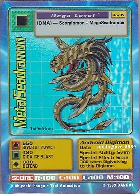 MINT DIGIMON 15 CARD LOT - 1st Edition Bo-35 METALSEADRAMON + COMMON CARDS