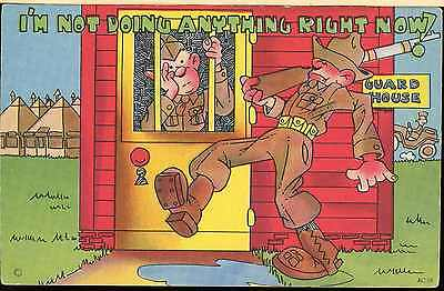 "Ww2 Cartoon Post Card Us Army Private In Guard House ""glo-Var"" Finish"