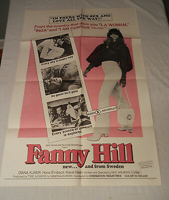 """""""Fanny Hill"""" Vintage Original 1968 Erotic X Rated One Sheet Movie Poster"""