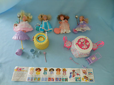 1987 Coleco Princess Magic Touch 4 dolls well tea table twirl fancy candy