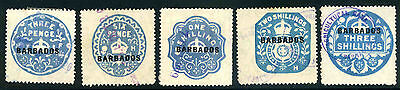 Barbados overprinted revenues to 3/- used