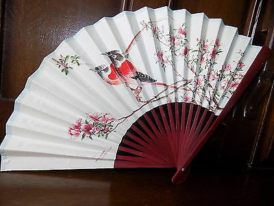 Collectable vintage oriental floral bird pattern bamboo paper folding hand fan