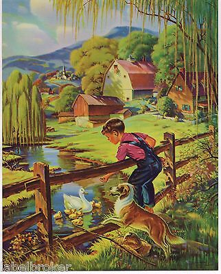 "Vintage Calendar Print 1940S Original Lithograph Fishing Nos Boy & Dog 8X10"" 2"