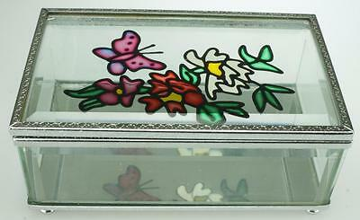 Hand painted Butterfly Glass possibly Amia Trinket or Jewellery Box DH71