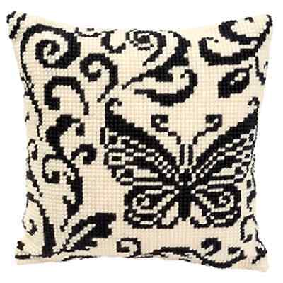Butterfly Black White - Large Holed Printed Tapestry Cushion Kit /Cross Stitch