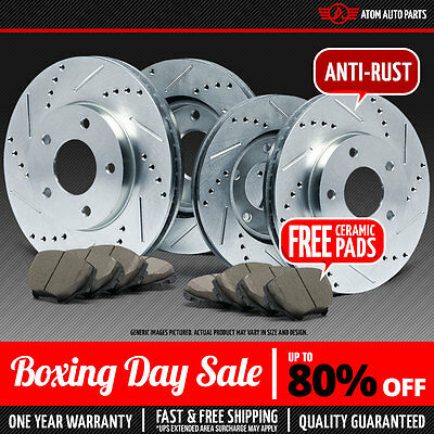 (Front+Rear) SILVER Slotted Drilled Rotors & Ceramic Pads Chevy GMC