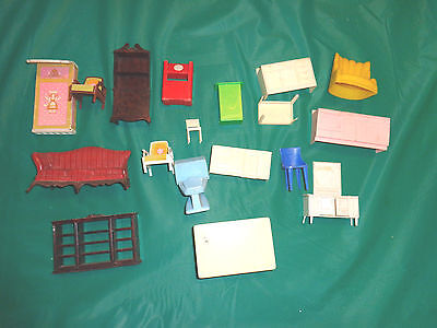 Lot of 18PC Plastic Doll Furniture Some Signed Renewal, Plasco, Mattel & More