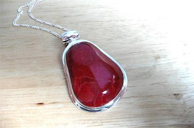 Huge Chunky Thick Red Coral 925 Sterling Silver Pendant Chain Necklace 18Ins