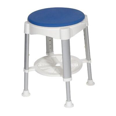 Drive Medical Bath Stool With Padded Rotating Seat White with Blue Seat