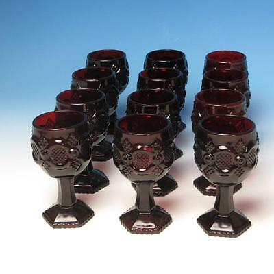 Avon Glass Cape Cod Collection Ruby Red - 12 Footed Sherry Wine Glasses - 4 OZ