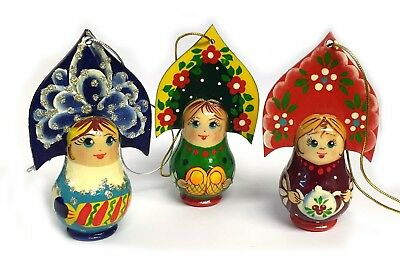 Hand Painted Russian Wood Christmas Ornament Girl With Kokoshnik 3 1/4 Inch