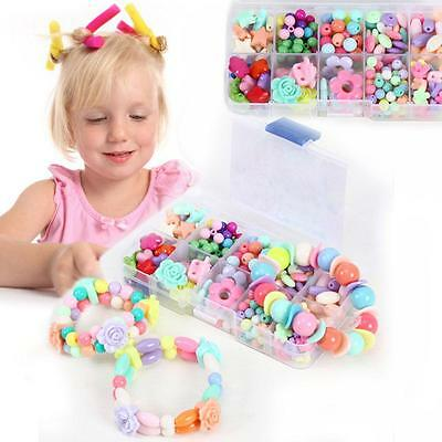 Plastic Beads Jewelry Necklace Bracelet Kids Creative Crafts Educational Toys S