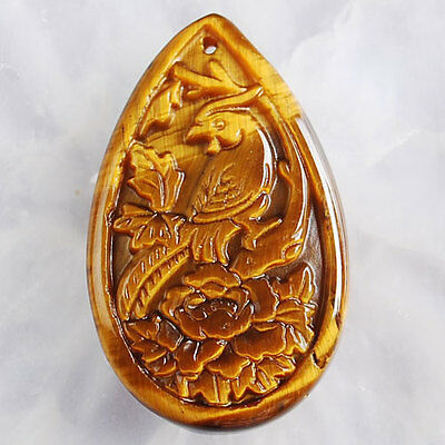 A3682 41x25x6 Yellow Tiger Eye Gem Carved Parrot Teardrop Pendant Bead