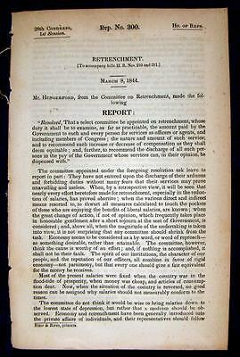1844 RETRENCHMENT Evaluations of Payments & Salaries to All Government Employees