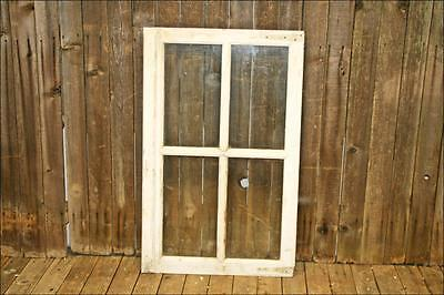 Vintage Wood Window 4 pane sash GLASS picture frame white shabby salvage chic #2