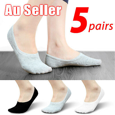 5 Pairs Men Women Invisible Low Cut No Show Footlet Socks Cotton Rich No-Slip