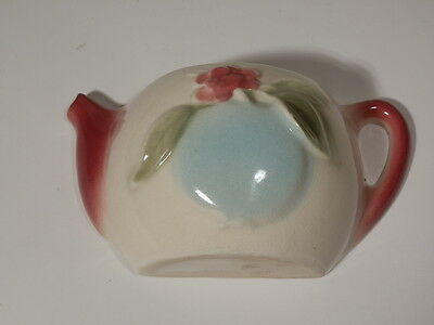 Vintage Pottery Wall Pocket Teapot Shape Pink And Blue