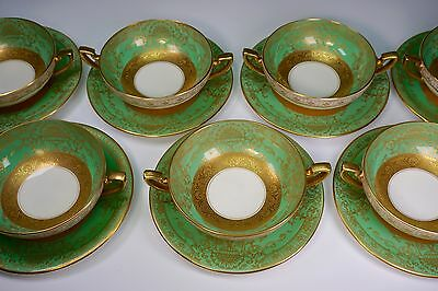 Royal Worcester Green & Gold Set of 10 Cream Soup and Under Plates - GORGEOUS