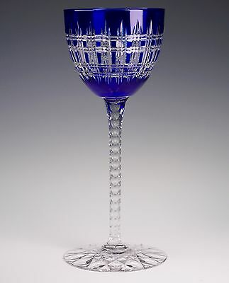 Beautiful Finely Cut Cobalt to Clear Crystal Wine Stem Baccarat Val St Lambert ?