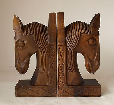Vintage Retro 60s/70s HAND CARVED TIMBER BOOKENDS Horse Head KITSCH Book Ends