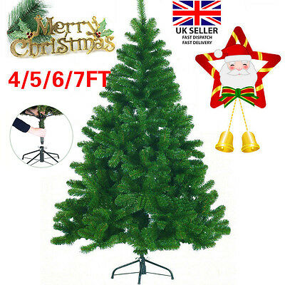 4/5/6/7FT Christmas Tree Premium Pine Traditional Forest Green with Metal Stand