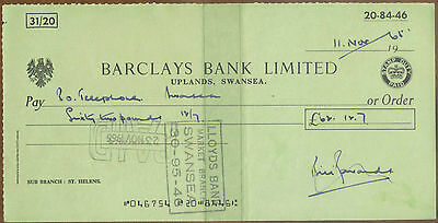 1965 Barclays Bank Cheque : Uplands Swansea : St. Helens Sub Branch: Wales