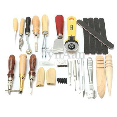 Leather Craft Punch Tools Kit Stitching Carving Working Sewing Saddle Groover 24