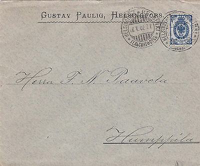 Fine 1902 Russian Occ Finland Cover Tied With Good Clear Cancels L*r