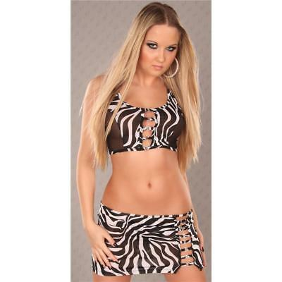 Sexy 2-Tlg Gogo-Set Top+Rock Clubwear Zebra-Optik Schwarz/weiss 34/36/38 #gw266