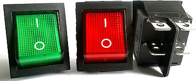 RED GREEN Light 4 Pin DPST ON/OFF Snap in Boat Rocker Switch 16A/250V 15A/125V