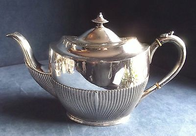 SUPERB ~ Q.Anne Style ~ SILVER Plated ~ Fluted TEAPOT ~ c1900 by James Dixon