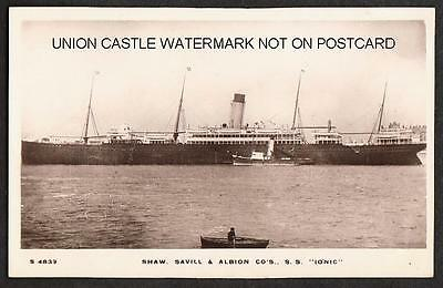Real Photo Postcard White Star Shaw Savill Line Ss Ionic New Zealand Built 1903