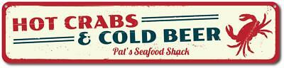 Hot Crabs & Cold Beer Sign, Personalized Seafood Shack Sign ENSA1001236