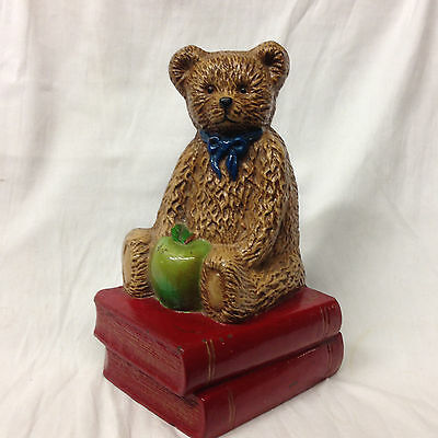 Teddy Brown Bear Metal Doorstop Green Apple  Stack Of Library Books Blue Ribbon