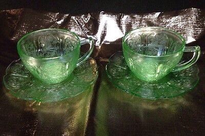 Jeannette Glass Company CHERRY BLOSSOM GREEN CUPS & SAUCERS
