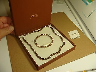 Honora Bronze Chocolate Pearl Necklace Bracelet Set Sterling Silver 925