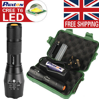 X800 Shadowhawk 6000LM XML T6 LED Tactical Flashlight 18650 Battery Wire Charger