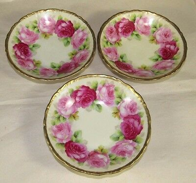 3 Ring of Roses Berry Bowls,Crown Old Ivory,Germany,Gold Trim Porcelain
