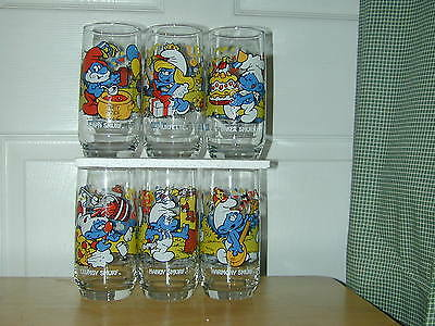 (New) 6 Smurf Peyo Character Glasses Complete Set 1983
