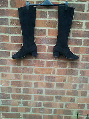 Vintage Bally Black Suede stretch Leather boots UK size 4 EU 37