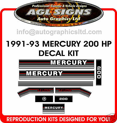 1991 -1993  MERCURY 200 hp, 2.5 litre OUTBOARD DECAL KIT