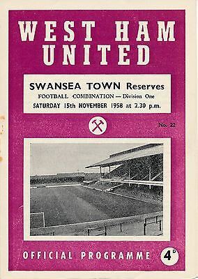 West Ham Reserves v Swansea Town (Combination) 1958/9