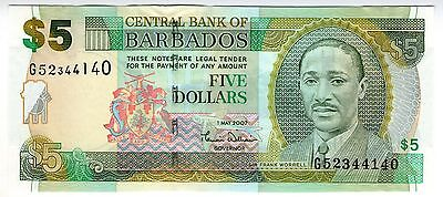 **   BARBADE     5  dollars   2007   p-67a    UNC   **
